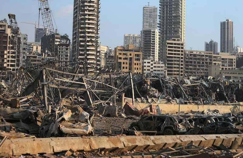 A picture shows the scene of an explosion at the port in Beirut on August 4. — AFP