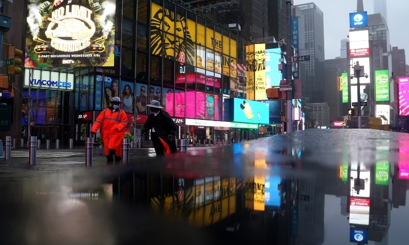 The display at Times Square started on Monday night and will continue for a week. — Reuters/File