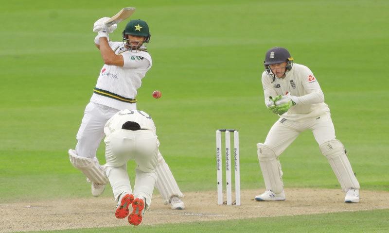 Pakistan opener Shan Masood plays a shot during his defiant innings.—AP