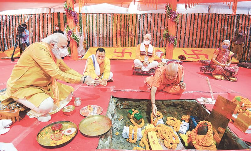 AYODHYA: Indian Prime Minister Narendra Modi attends the temple's foundation-laying ceremony.—Reuters