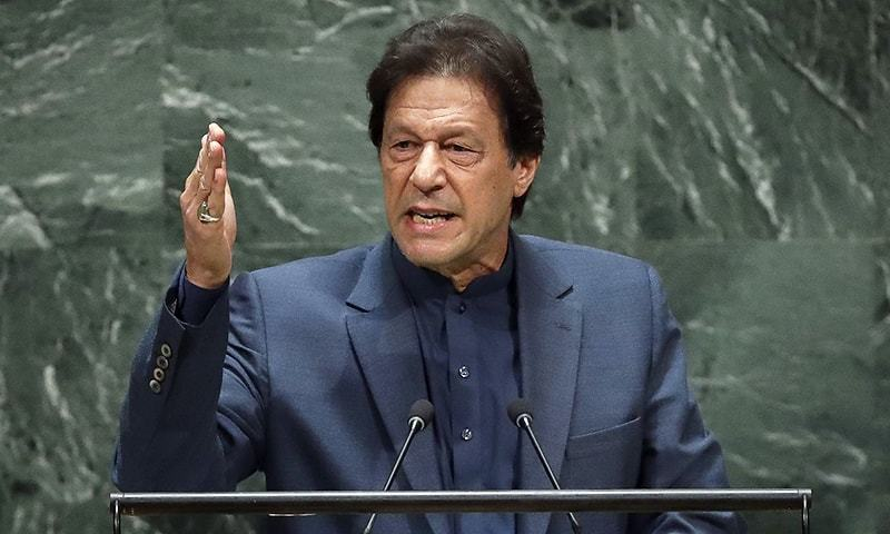 Prime Minister Imran Khan flew to Azad Kashmir and addressed the assembly on August 5. — AFP/File