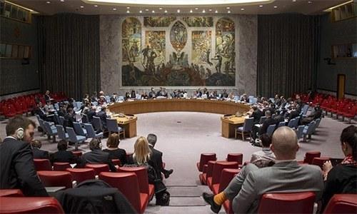 15 رکنی ان کیمرا اجلاس وزیر خارجہ شاہ محمود قریشی کی درخواست پر ہوا۔ فائل فوٹو:یو این ایس سی ویب سائٹ