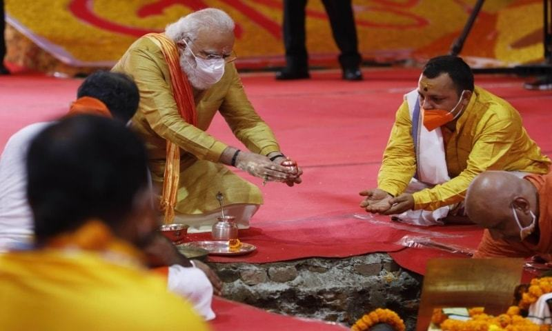 Hindu priests prepare the site for a groundbreaking ceremony of a temple dedicated to the Hindu god Ram in Ayodhya, India on Wednesday, August 5, 2020. — AP/File