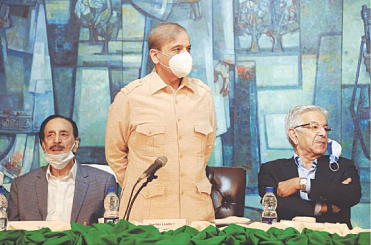 ISLAMABAD: PML-N president Shahbaz Sharif speaking at the parliamentary party meeting at the Parliament House on Thursday.—White Star