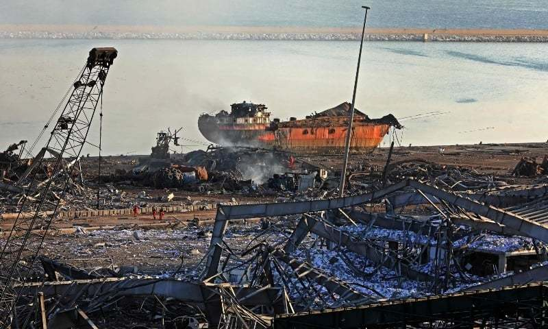 A view shows the aftermath of the blast at the port of Lebanon's capital Beirut, on August 5, 2020. — AFP/File