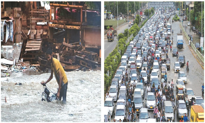 A MOTORCYCLIST in Korangi wades through knee-deep rainwater while (right) one track of the arterial Sharea Faisal is jammed at a choke point on Friday.—Shakil Adil/White Star