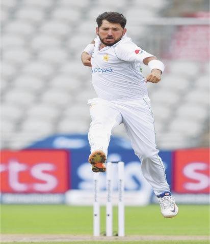 YASIR Shah celebrates after taking a wicket.—AP