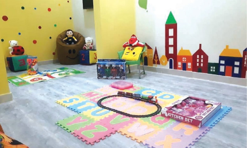 A colourful playing area adjacent to the child court in Mohmand. — Dawn