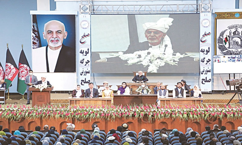 President Ashraf Ghani (second from left) speaking during the grand assembly.—Reuters