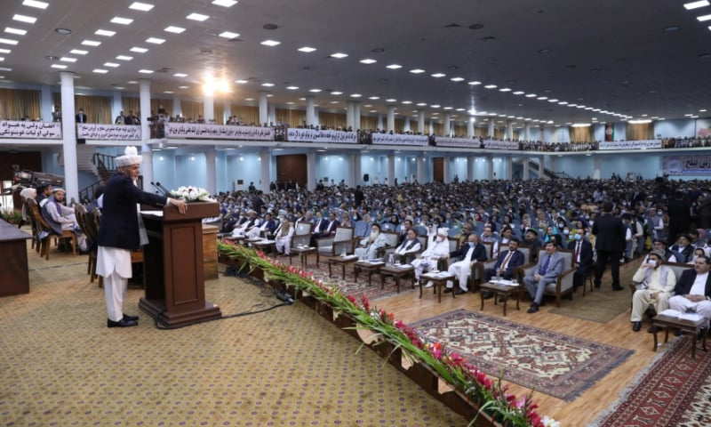 Afghanistan's President Ashraf Ghani speaks during a consultative grand assembly, known as Loya Jirga, in Kabul, Afghanistan, August 7. — Afghan Presidential Palace via Reuters