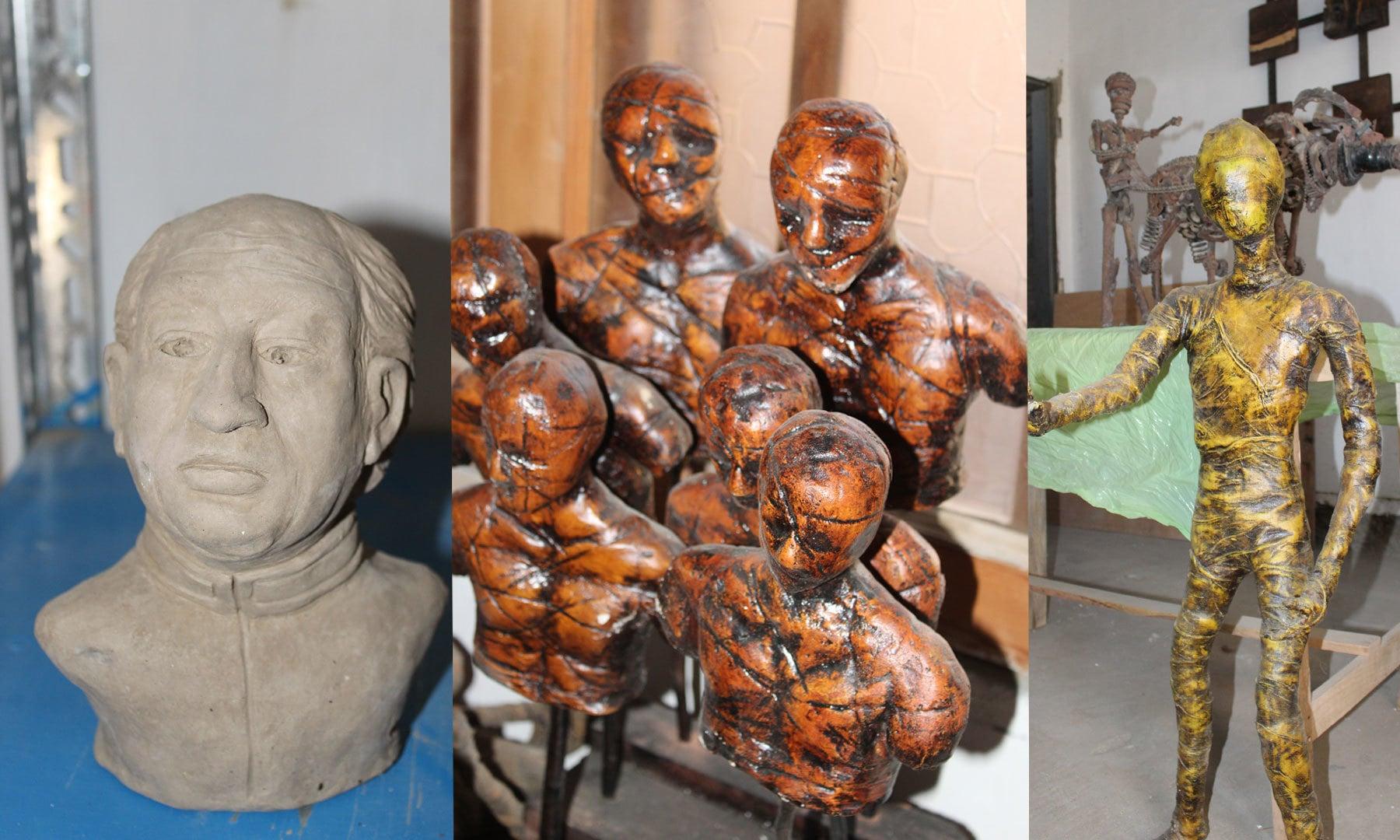 خوشی حسین کے تخلیق کردہ مجسمے
