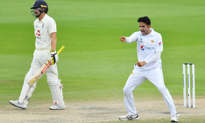 Pakistan's Mohammad Abbas celebrates taking the wicket of England's Rory Burns during the first Test. — Reuters