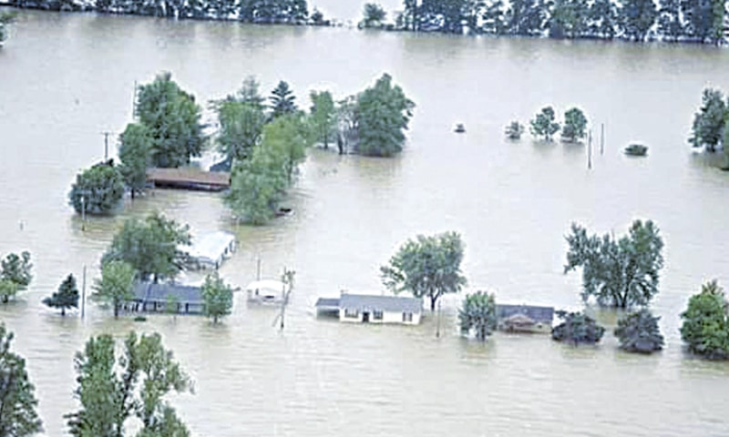 BARRING a few concrete structures, all houses in this village, located in Kachho belt, have vanished under floodwater.—Dawn
