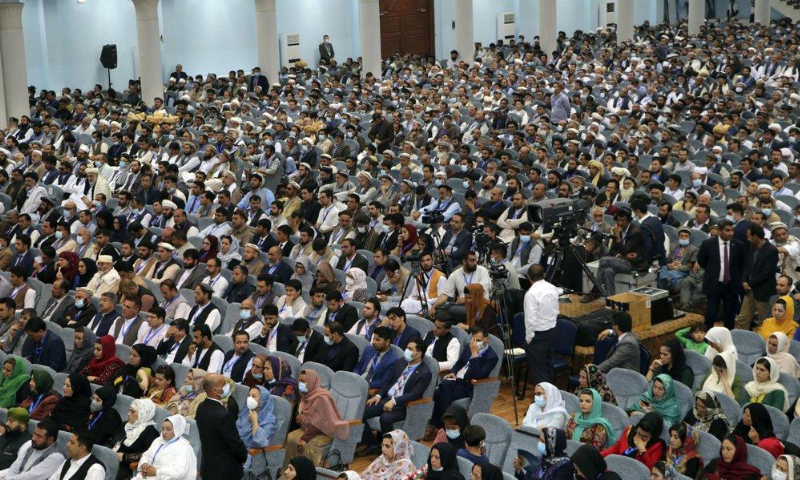 Delegate, attend the last day of an Afghan Loya Jirga or traditional council, in Kabul, Afghanistan. — AP