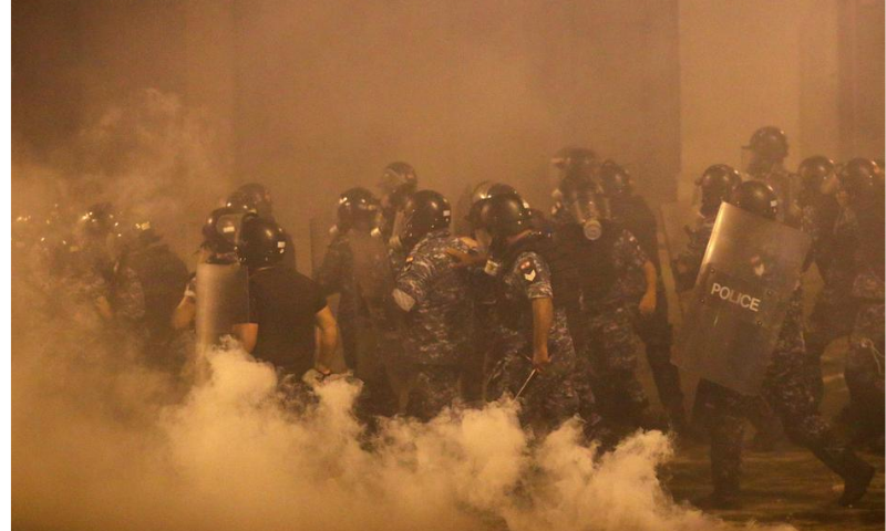 Police officers are seen during a protest following Tuesday's blast, in Beirut, Lebanon on Sunday. — Reuters