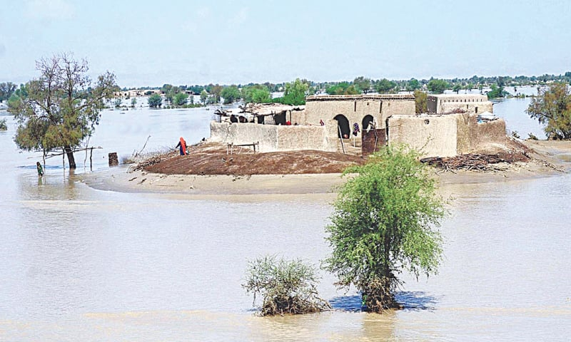 A HOUSE in the Kachho area of Johi taluka remains surrounded by floodwater, which largely receded on Monday after the hill torrent swept away hundreds of other straw and mud houses all along its course over the last three days.—APP