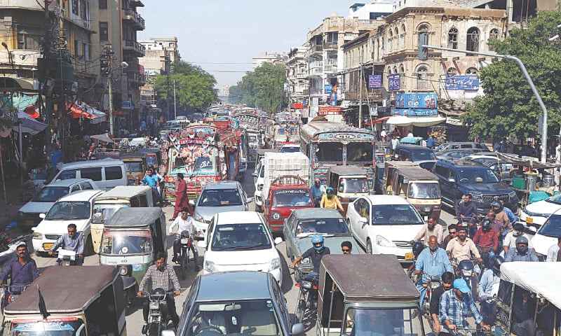 A TRAFFIC jam is seen in the old city area on Monday after the government allowed most businesses to reopen.—PPI
