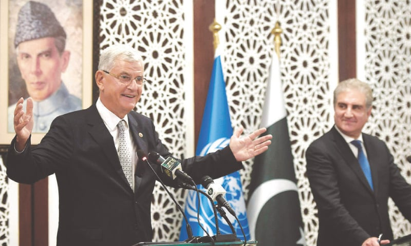 UNITED Nations General Assembly President-elect Volkan Bozkir speaks during a joint press conference with Foreign Minister Shah Mehmood Qureshi on Monday.—AFP