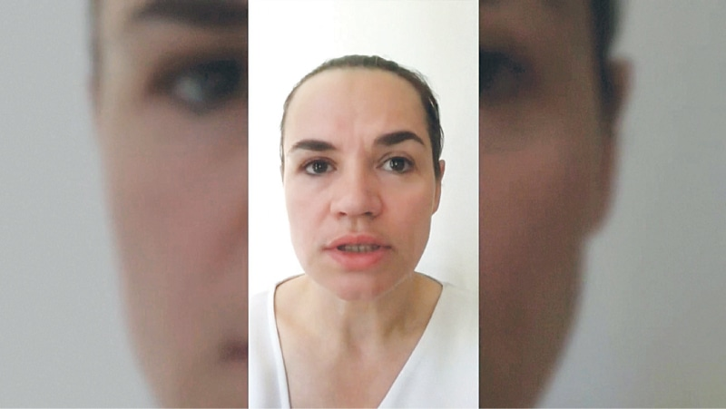 MINSK: Belarusian opposition leader Svetlana Tikhanouskaya speaks in a video message from an unknown location in this still image taken from a video released on Tuesday. — Reuters