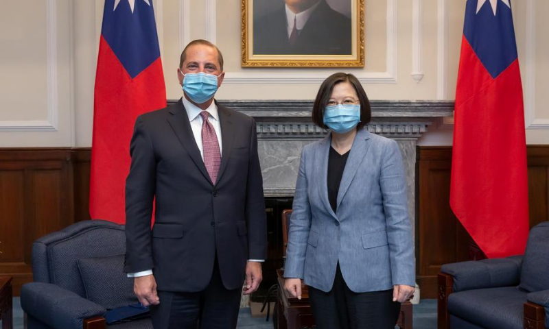 US Secretary of Health and Human Services Alex Azar and Taiwan President Tsai Ing-wen pose for photos during their meeting at the presidential office, in Taipei, Taiwan on Aug 10. — Reuters