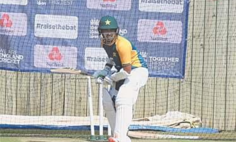 PAKISTAN opener Abid Ali bats in the nets during a practice session at the Ageas Bowl on Wednesday. — Courtesy PCB