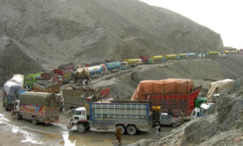 Official sources say 317 trucks loaded with dried fruit and other goods crossed into Pakistan from Afghanistan. — Dawn/File