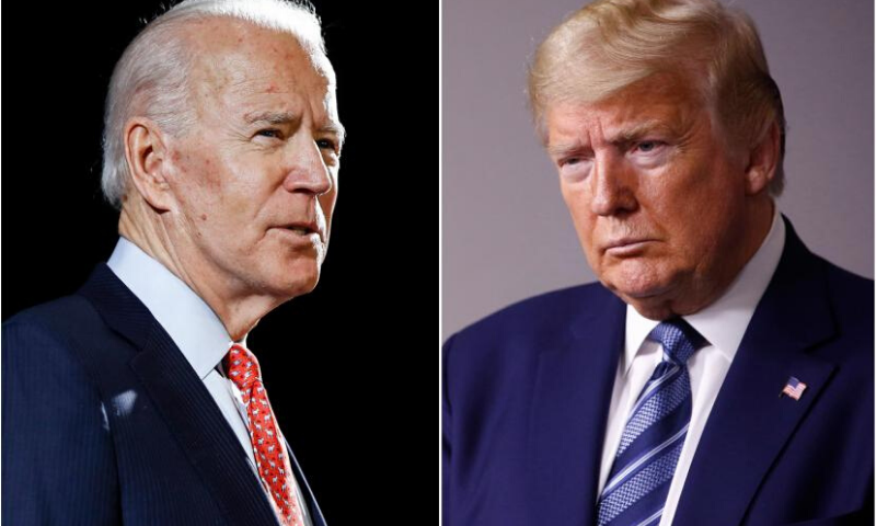 "US President Donald Trump (R) tells Democrat presidential nominee Joe Biden to ""stop playing politics with the virus"" after latter urged country to wear masks. — AP/File"