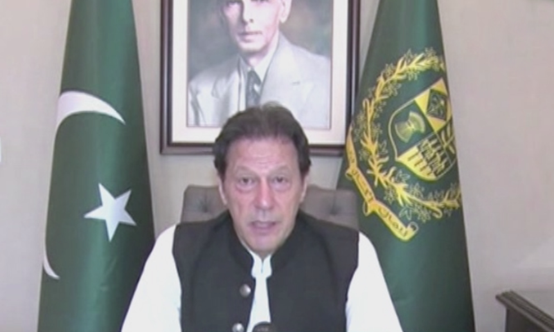 Prime Minister Imran Khan addresses the nation on Independence Day. — DawnNewsTV