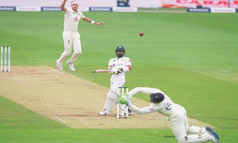 PAKISTAN batsman Mohammad Rizwan's attempted pull off England paceman Stuart Broad flies past wicket-keeper Jos Buttler during the second Test at the Ageas Bowl on Friday.—Reuters