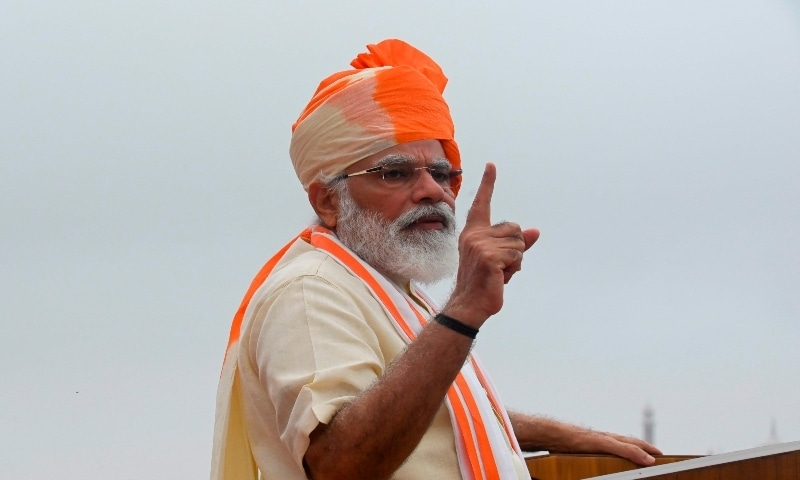 India's Prime Minister Narendra Modi gestures as he delivers a speech to the nation during a ceremony to celebrate India's 74th Independence Day at the Red Fort in New Delhi on August 15, 2020. — AFP