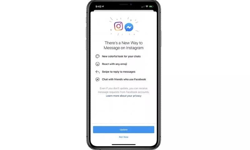 فیس بک کی انسٹاگرام اور میسنجر چیٹ مدغم کرنے کی جانب پیشرفت