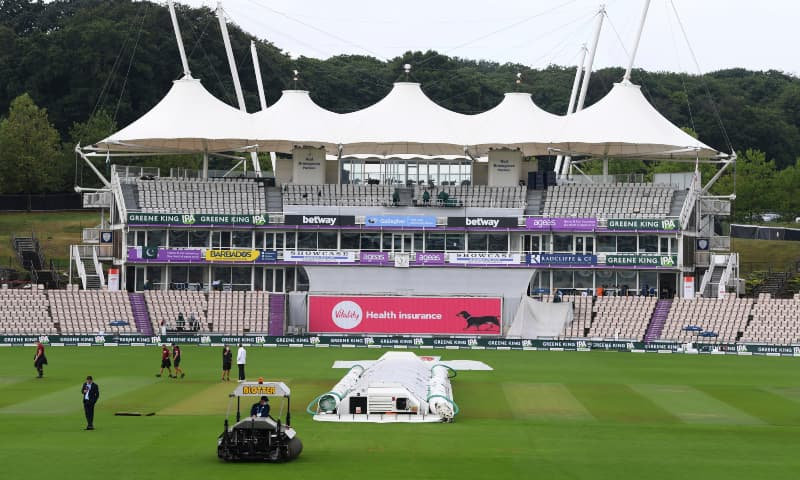 The pitch area is seen covered ahead of the fifth day of the second Test between England and Pakistan, at the Ageas Bowl in Southampton, England, Monday, Aug 17. — AP