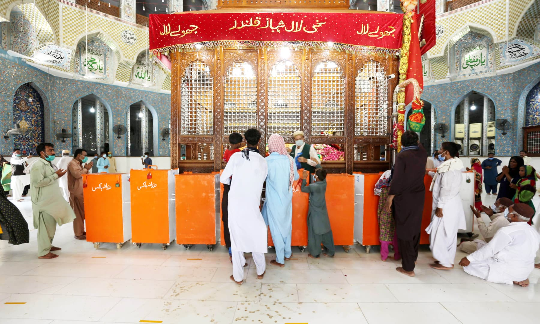 An inside view of Lal Shahbaz Qalandar shrine after it opened to visitors on Aug 17
