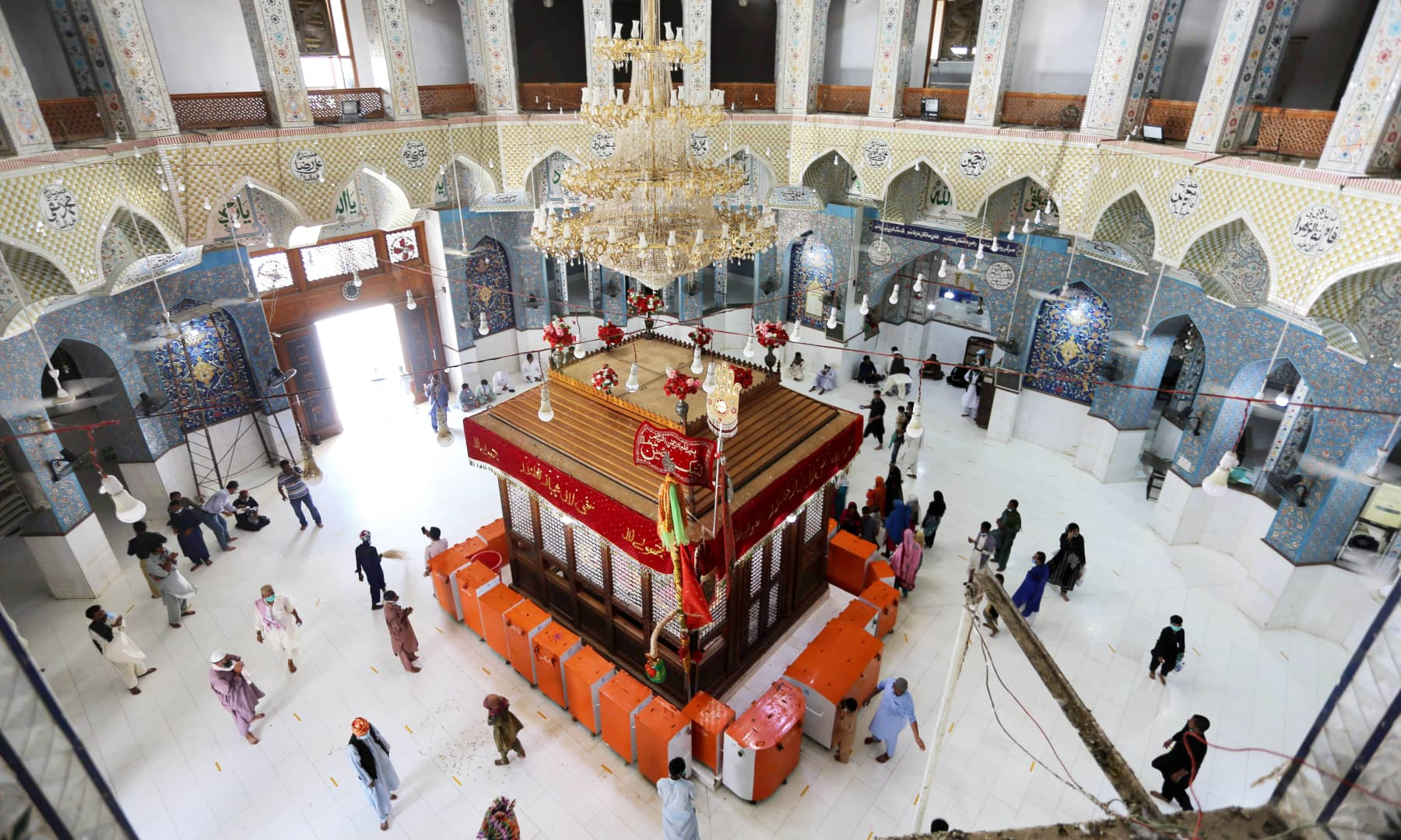 A view of the inner sanctum of Lal Shahbaz Qalandar's shrine after it was reopened on Aug 17.