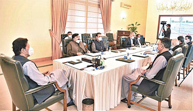 ISLAMABAD: Prime Minister Imran Khan chairs a meeting on ML-1 railway project on Monday. — APP