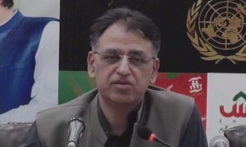 Planning Minister Asad Umar speaks to the media. — DawnNewsTV