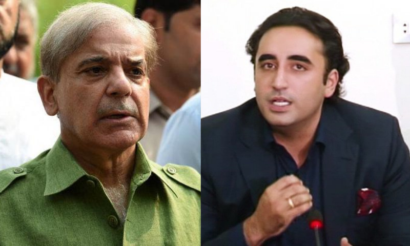 "Shehbaz said ""Imran Khan's mismanagement of national affairs has increased the woes of the masses manifold"" while Bilawal said corruption had increased. — AFP/DawnNewsTV/File"