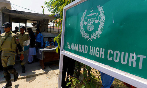 A division bench of the IHC, comprising Justice Aamer Farooq and Justice Miangul Hassan Aurangzeb, on Tuesday set aside the condition of personal appearance and cross examination of the investigation officer of the foreign country. — Dawn/File