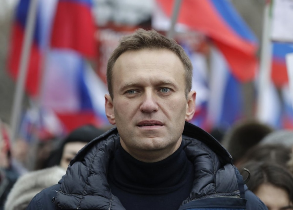 In this Sunday, Feb 24, 2019 file photo, Russian opposition activist Alexei Navalny takes part in a march in memory of opposition leader Boris Nemtsov in Moscow, Russia. Russian opposition politician Alexei Navalny was placed on a ventilator in a hospital intensive care unit in Siberia after falling ill from suspected poisoning during a flight, his spokeswoman said Thursday Aug. 20, 2020. – AP Photo