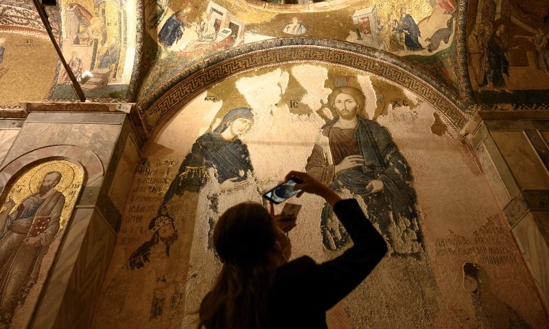 A tourist visits the Chora or Kariye Museum, a medieval Byzantine Greek Orthodox church on August 21. — AFP