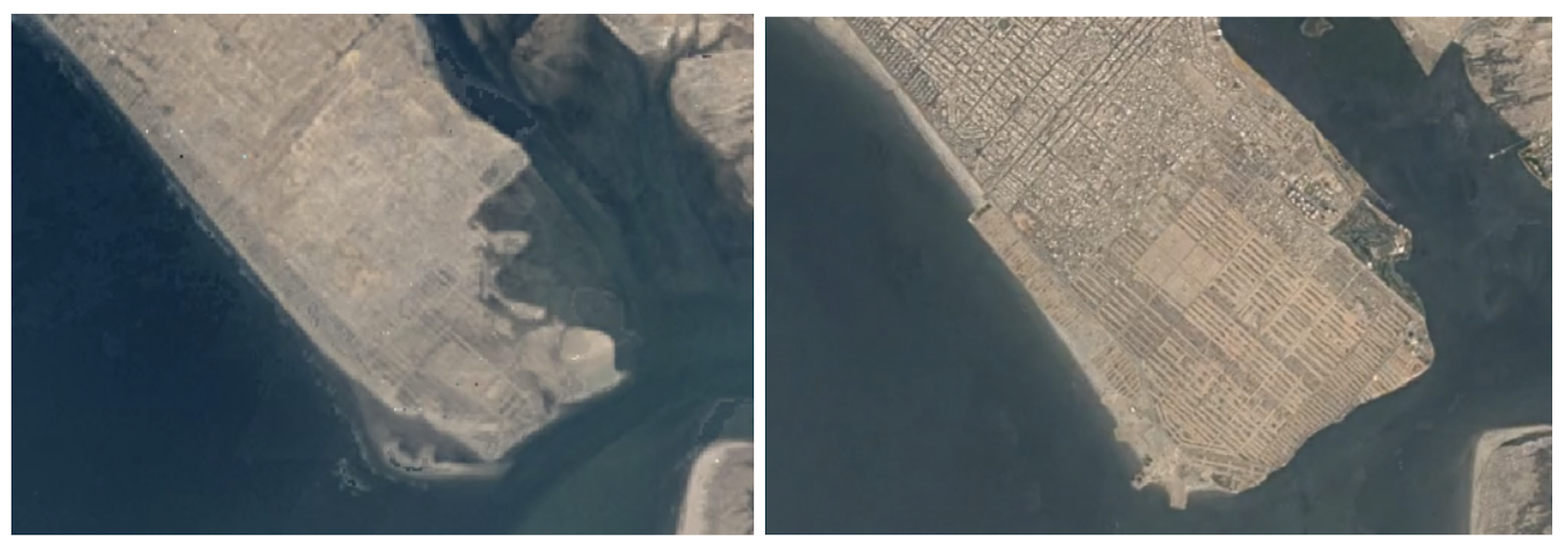 Satellite imagery of DHA Phase-VIII in 1984 and 2018, showing the extent of land reclamation within the area | Courtesy Marvi Mazhar and Associates