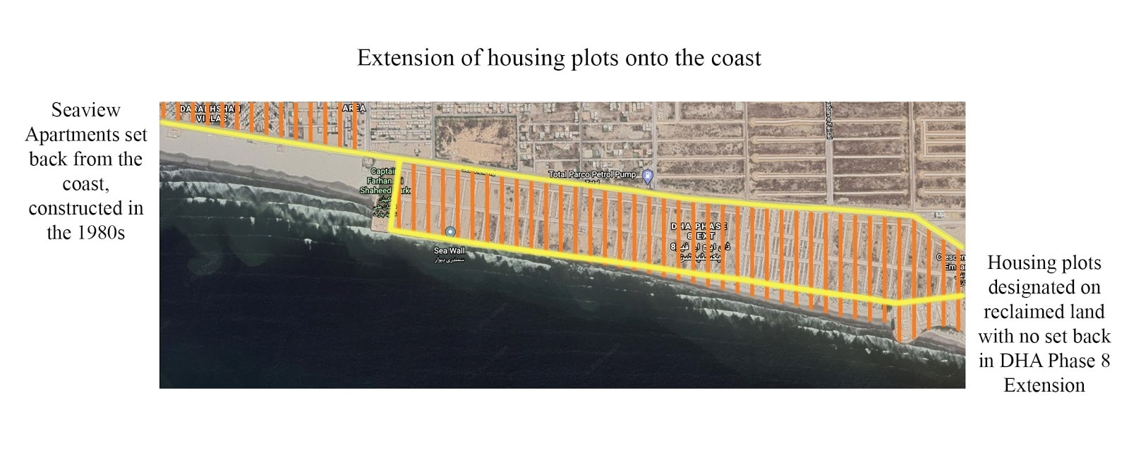 Extension of DHA housing plots on to the edge | Courtesy Marvi Mazhar and Associates