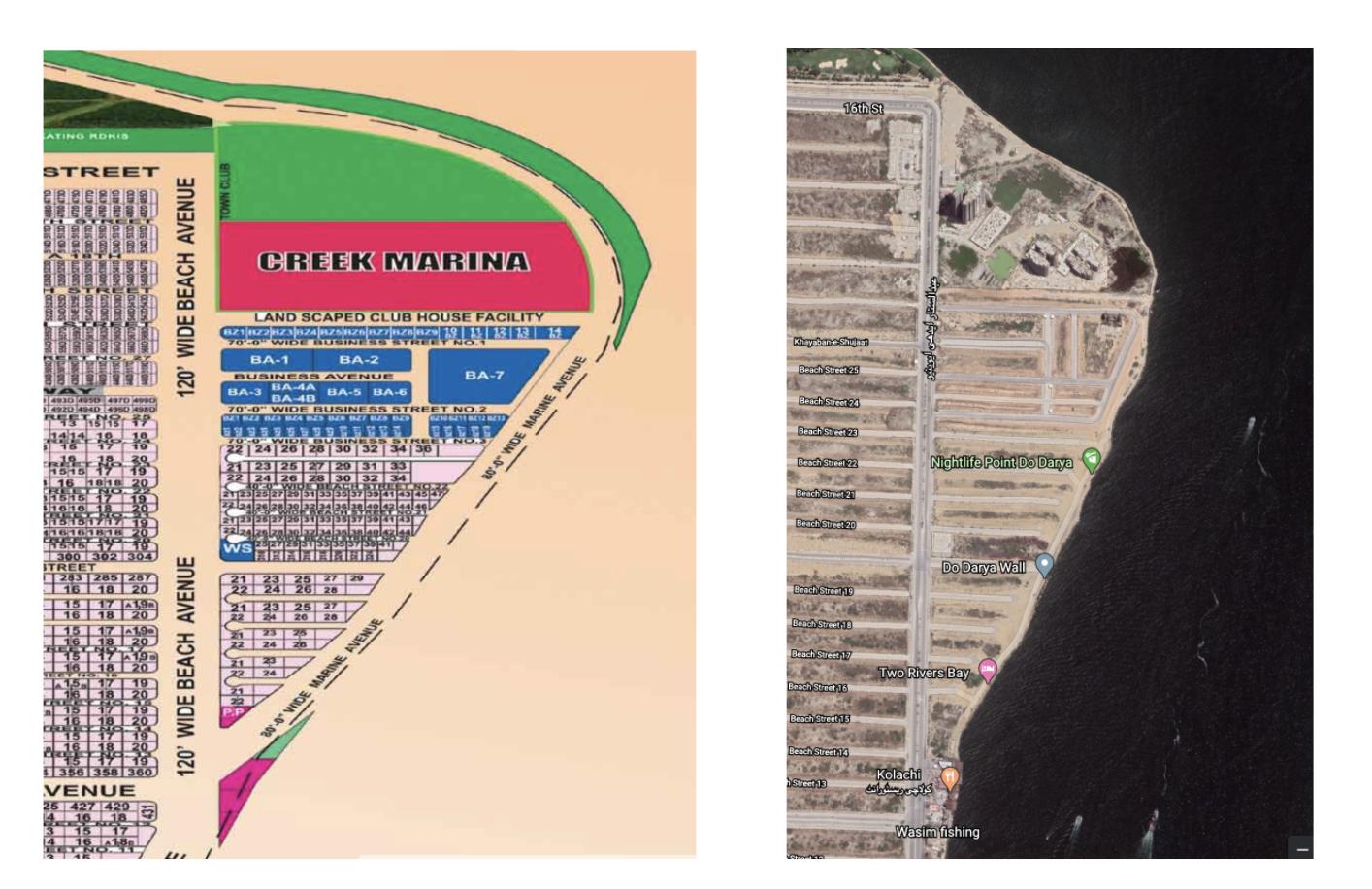 DHA map of Creek Marina, alongside Google Maps satellite imagery