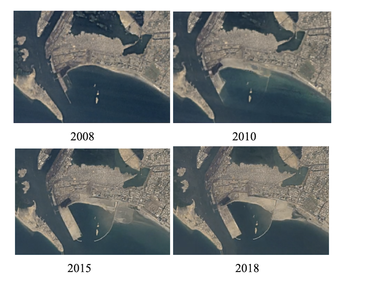 Satellite images show the progression of KPT's land reclamation from 2008-2018 | Courtesy Marvi Mazhar and Associates