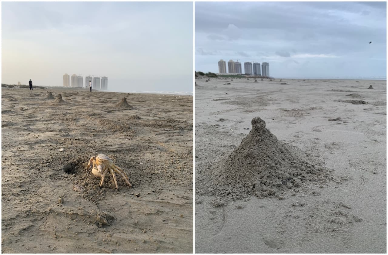 Images of crab settlements along the waterfront in DHA Phase-VIII | Marvi Mazhar