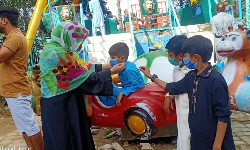 Citizens wear face masks in Abbottabad. — Photo courtesy Abbottabad DC Office