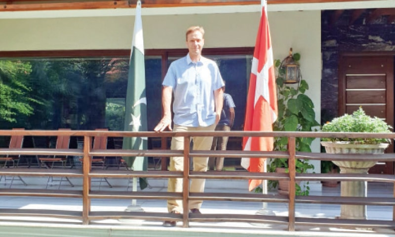 Ambassador Rolf Holmboe at his residence in Islamabad.