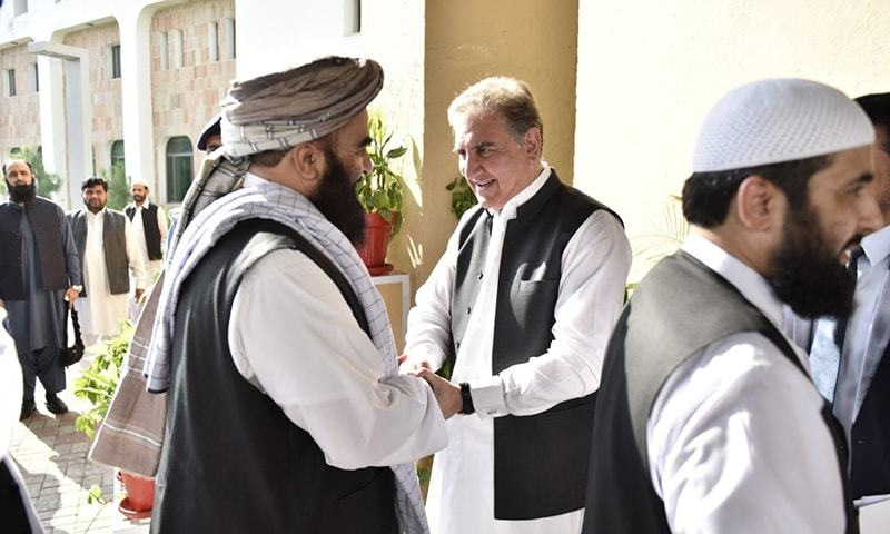 In this 2019 file photo, a high-level delegation of the Afghan Taliban is being received by Foreign Minister Shah Mahmood Qureshi at the Foreign Office. — Photo provided by Naveed Siddiqui/File