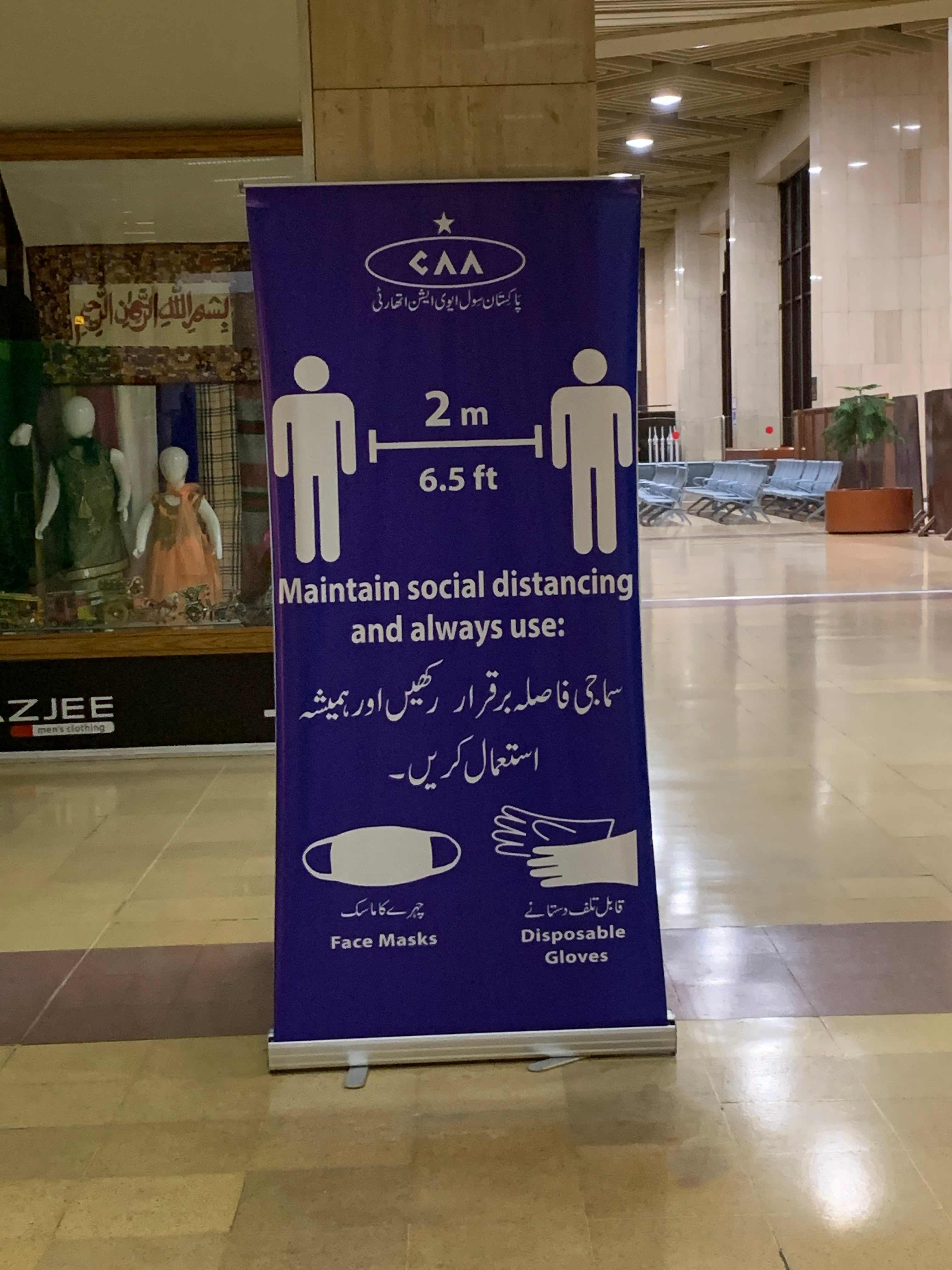 Posters by the Civil Aviation Authority have been put up at the airport, encouraging people to take precautions against the virus.