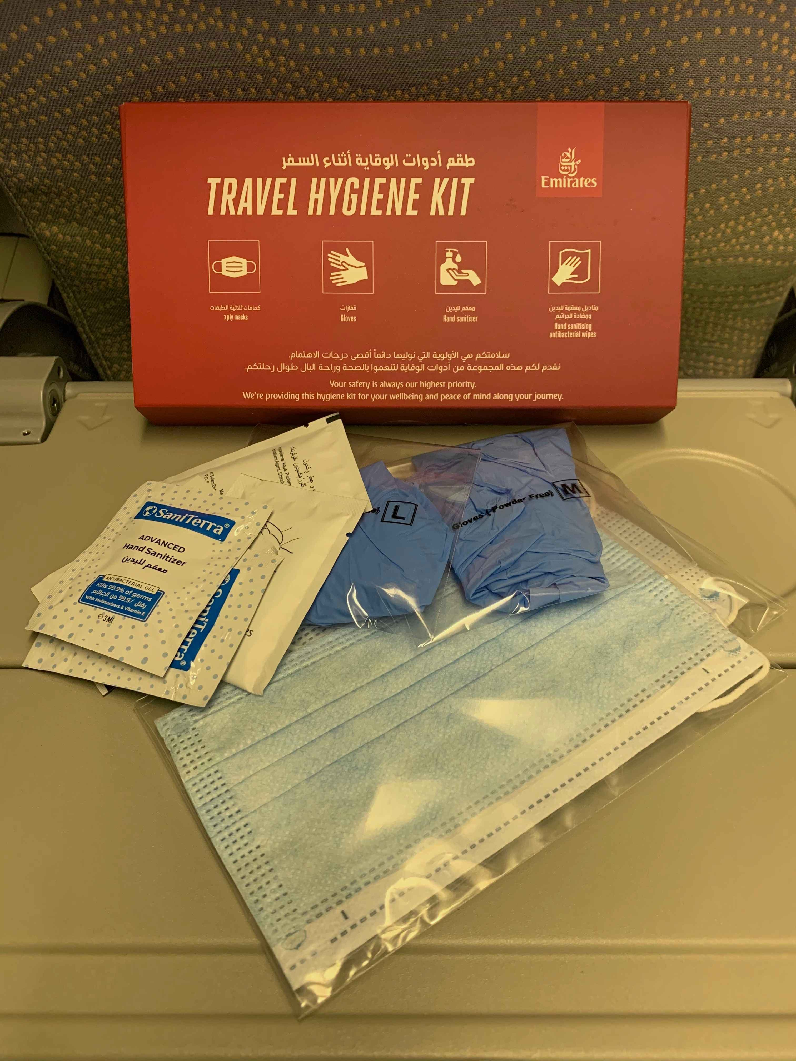 The first thing the Emirates crew hands out are the travel hygiene kits.